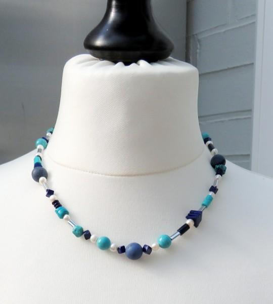 Edelsteinkette Türkis Lapis Lazuli Hämatit Dumortierit Unikat Kette 4413