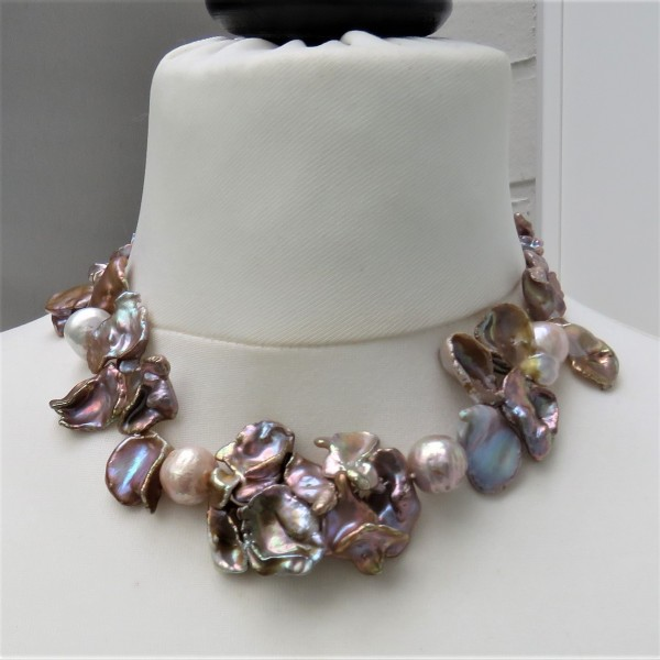 Keshi Ming Perlen Collier Süßwasser Perlen Kette Unikat Keshi Perlen Kette 4769