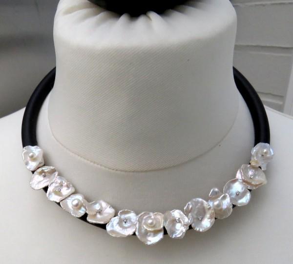 Perlen Collier Keshi Perlen Kette Keshi Bouton Perlen Unikat Collier 4487