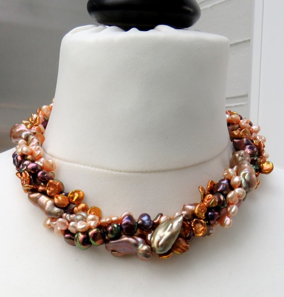 Süßwasser Keshi Perlen Collier Unikat Perlen Collier 5-reihig Unikat 4598