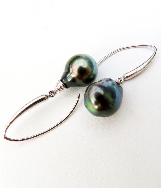 Tahiti Perlen Ohrringe Tropfen barock Unikat Tahiti Perlen an Silber Haken 4657