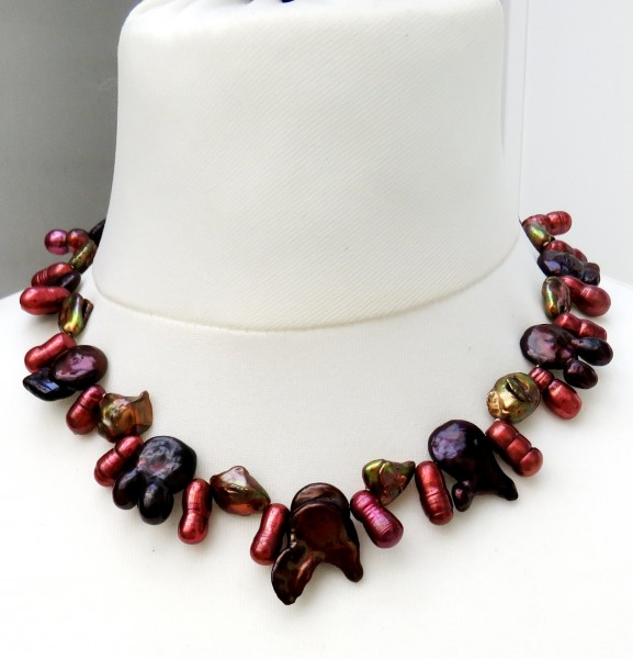 Süßwasser Perlen Kette Unikat Perlen Kette handgefertigt Flats Coin Tropfen 4674