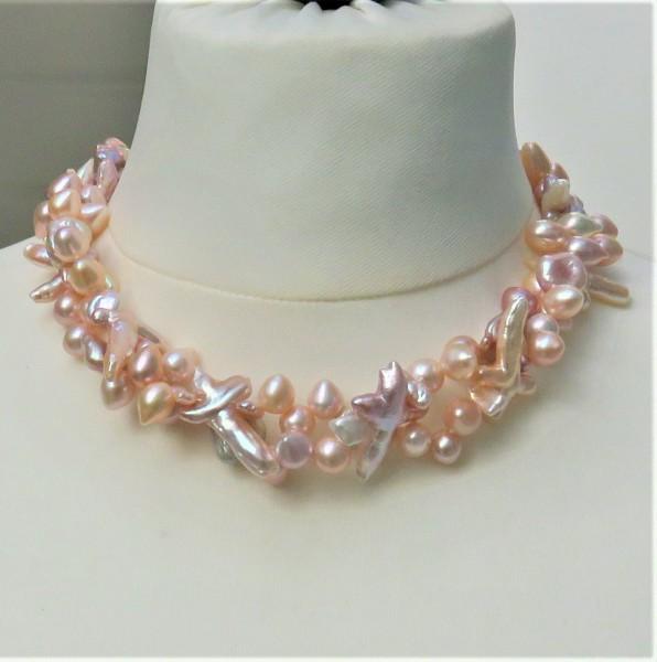 Süßwasser Perlen Collier Perlen Kette Unikat Perlen Collier AAAA zweireihig 4829