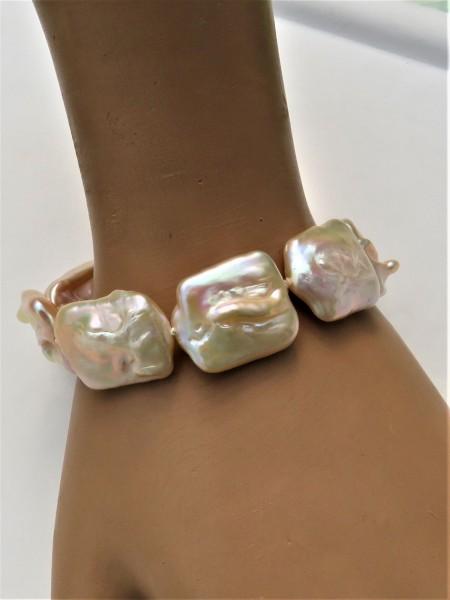 Perlen Unikat Armband Coin Perlen naturfarben 18x22 mm Süßwasser Perlen 4853