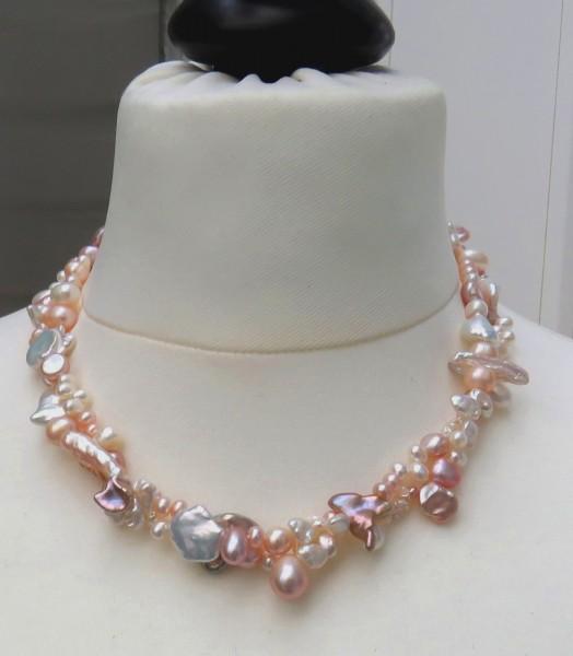 Süßwasser Perlen Kette zweireihige Perlen Unikat Kette Keshi Perlen Kette 4621