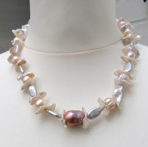 Süßwasserperlen Keshi Kette Perlenkette Halskette Unikat Schmuck 3879