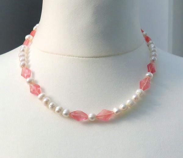 Süßwasserperlen Cherry Quarz Kette Unikat Perlen Edelstein Kette 4324 C