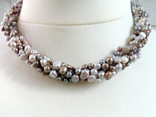 Süßwasser Perlen Collier Unikat Perlen Kette handgefertigt fünf reihig 4555