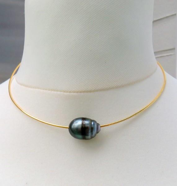 Tahiti Perle an Omega Reif Silber vergoldet Unikat Perlen Schmuck handgefertigt 4751