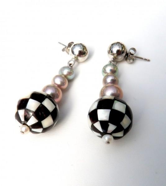 Süßwasser Perlen Perlmutt Ohrringe Unikat Perlen Ohrringe Kugelstecker 4577