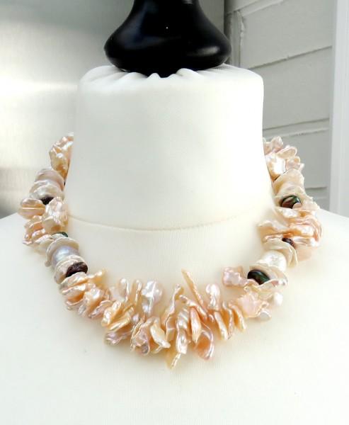 Perlen Kette Keshi Perlen Ming Perlen Collier Süßwasser Perlen Unikat 4745