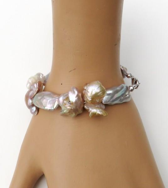 Süßwasser Perlen Keshi Biwa Armband Unikat Perlen Armband handgefertigt 4656