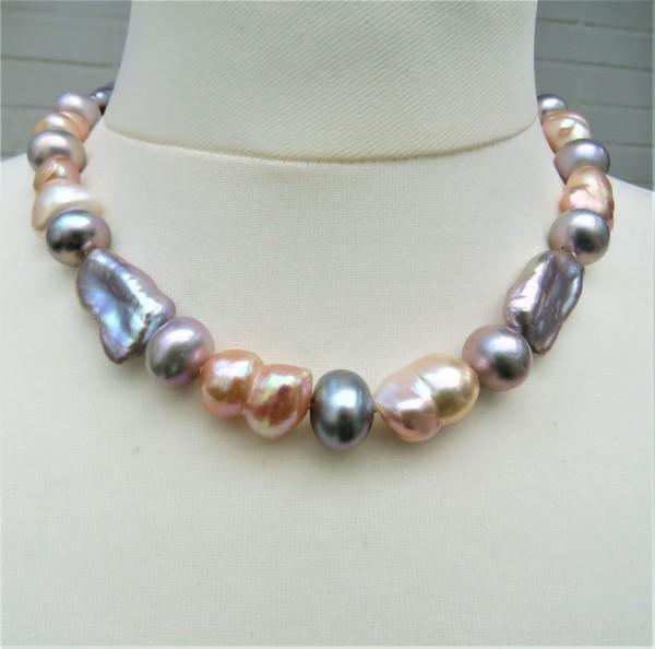 Perlen Collier Keshi Perlen Twin Süßwasser Perlen Kette Unikat Perlen Kette 4840
