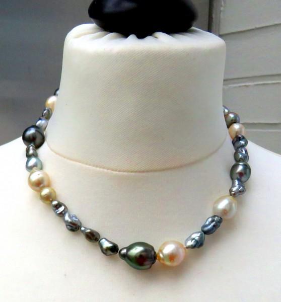 Tahiti Südsee Perlen Collier Tahiti Keshi Perlen Südsee Perlen Unikat Kette 4741