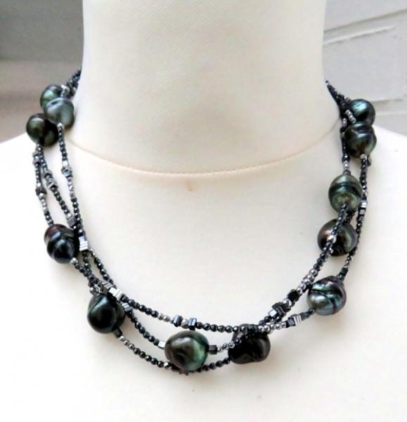 Tahitiperlen Hämatit Unikat Collier dreireihig Perlen Kette Tahiti Perlen 3948