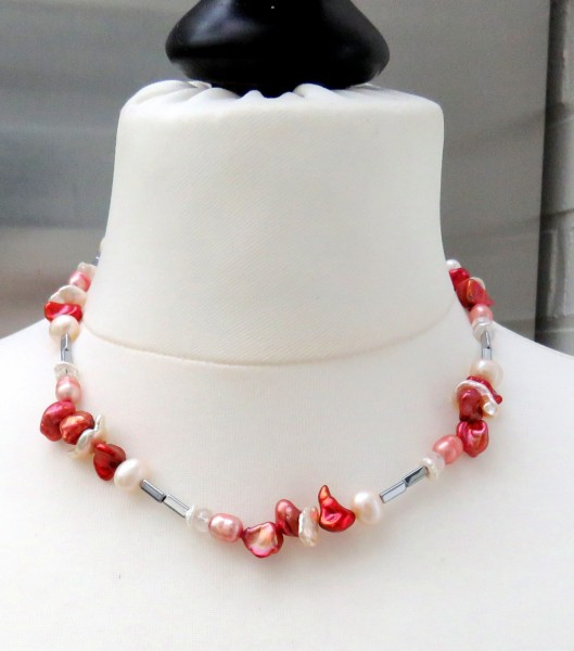 Perlen Hämatit Kette Keshi Perlen Kette, Süßwasser Perlen Beryll Kette 4730