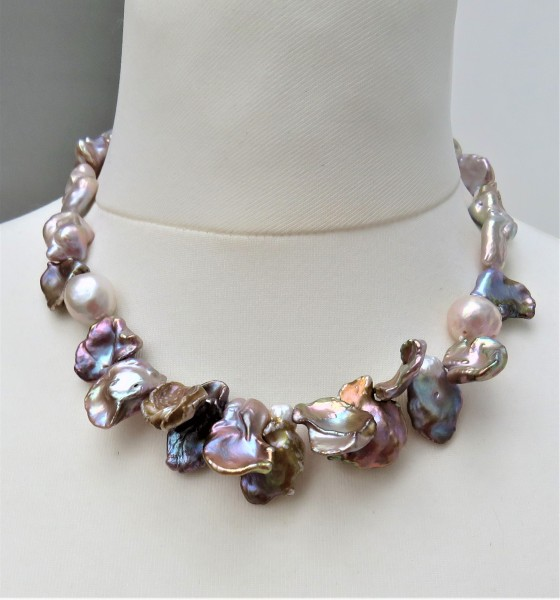 Perlen Kette Keshi Perlen Collier Unikat Perlen Kette handgefertigt 4776