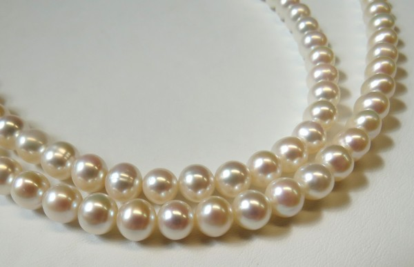 Perlen Strangware Süßwasserperlen AAA 7,5 bis 8 mm 50 cm L0001