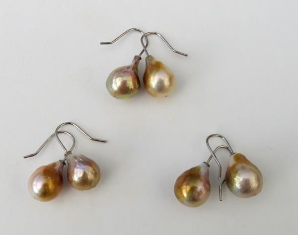 Perlen Ohrringe Naturgold Ming Süßwasserperlen Ohrringe handgefertigt 4461