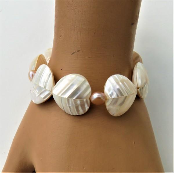 Perlen Perlmutt Armband Süßwasserperlen Natur handgefertigt Unikat Armband 4794