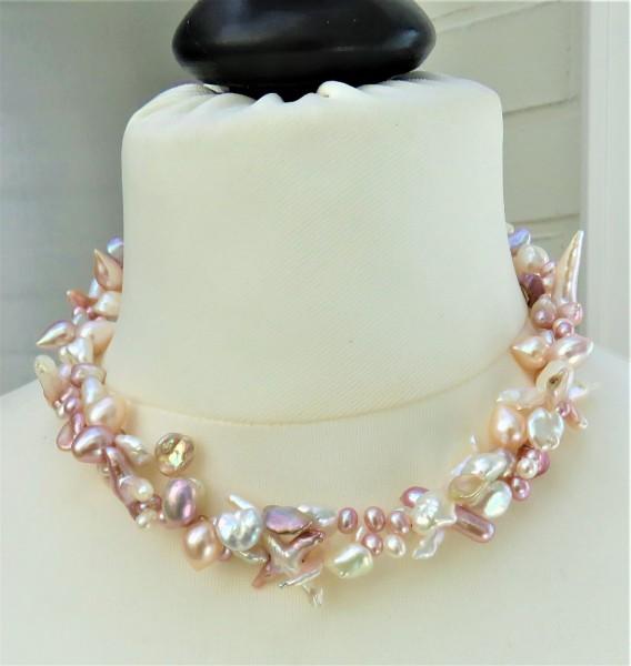 Süßwasser Perlen Collier Tropfenperlen Keshi Perlen Unikat Collier 2-reihig 4813