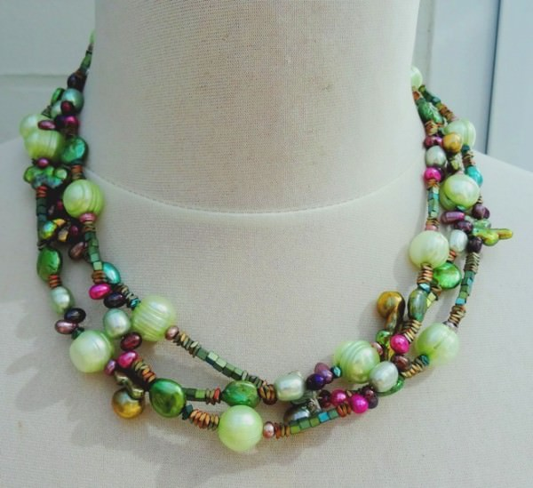 Süßwasserperlen Hämatit Unikat Collier 3-reihig Halskette Perlenkette Kette 3565