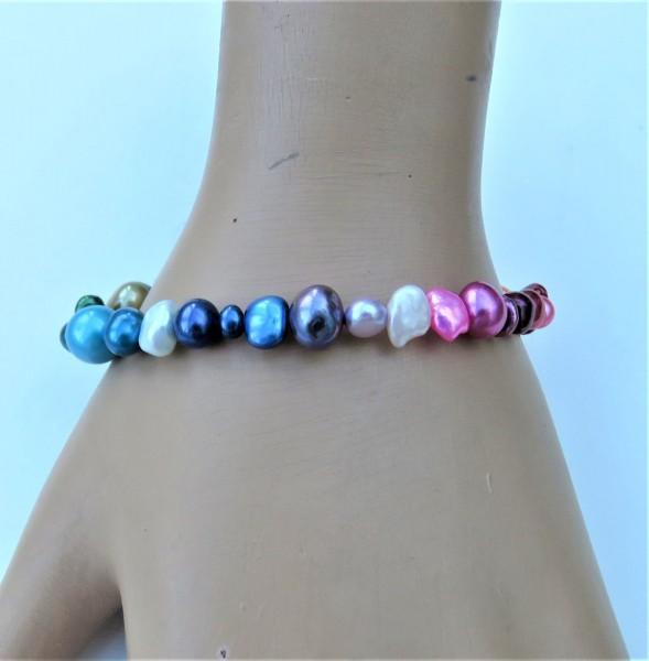 Perlen Armband Rainbow Süßwasser Perlen Armband handgefertigt A3756