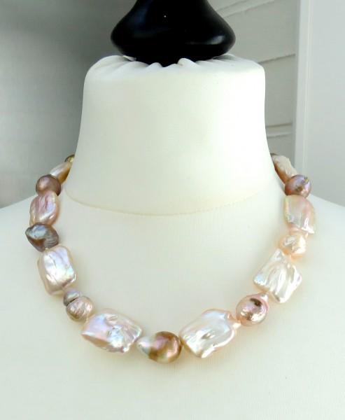 Ming Biwa Perlen Collier Naturfarben Unikat Perlen Collier handgefertigt 4646