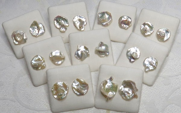 Keshi Perlen Ohrringe Unikat Perlen Stecker Süßwasserperlen Keshi 4385