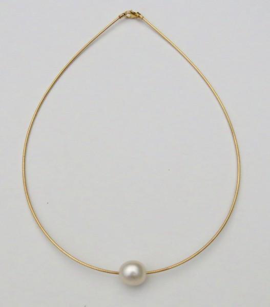 Südsee Perle an Silber Omega Reif 11,5 mm AAA Collier rhodiniert vergoldet 4609