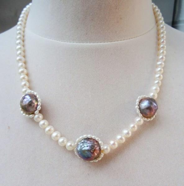 Süßwasserperlen Unikat Collier Perlenkette Kette Halskette Halschmuck 3429