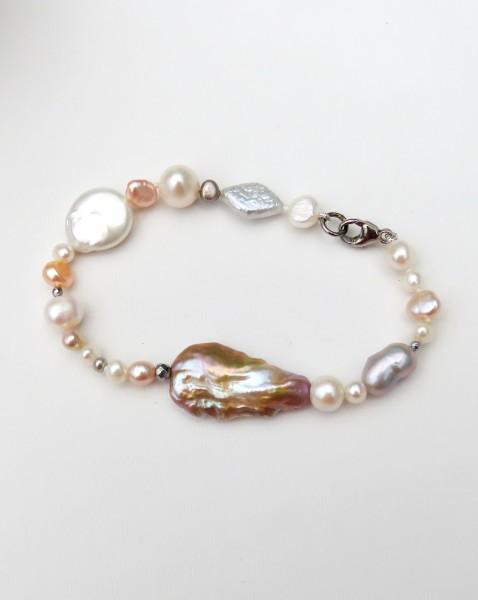 Süßwasser Perlen Armband naturfarben Unikat Perlen Armband handgefertigt 4586