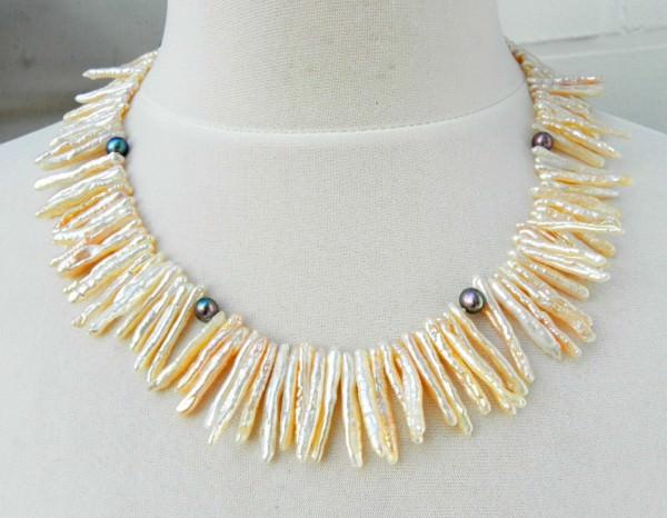 Süßwasserperlen Collier Halskette Perlenkette Unikat SONDERANGEBOT 3139