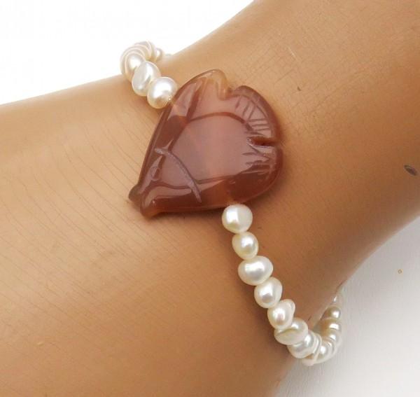 Süßwasser Perlen Armband mit Achat Fisch Kinder Armband 4401