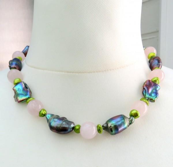 Süßwasser Perlen Morganit Collier Keshi und Tropfen Perlen Unikat Collier 4638