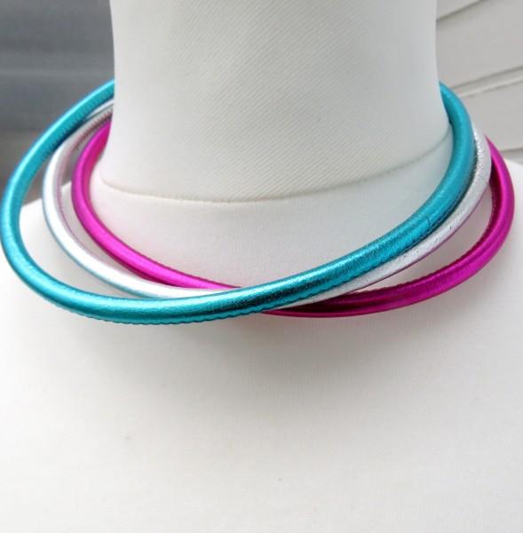 Halsreif Kalbleder Metallic Farben genäht handgefertigt Lederkette 4749