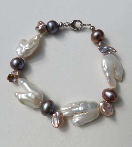 Süßwasser Perlen Armband Unikat Armband handgefertigt Keshi Potatoe Biwa 4584