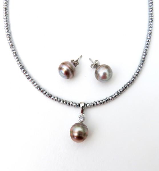 Tahiti Perlen Set Ohrringe Anhänger Hämatit Kette Unikat Tahiti Perlen Set 4585