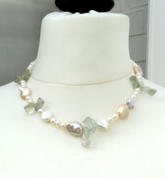 Süßwasser Perlen Prasiolit Kette, Coin Perlen Keshi Perlen Edelstein Kette 4644