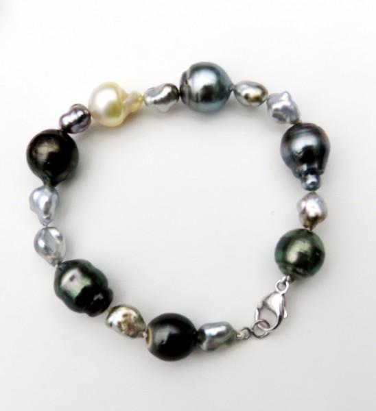 Südsee Tahiti Naturkeshi Perlen Armband Perlen Armband Tahiti handgefertigt 4732