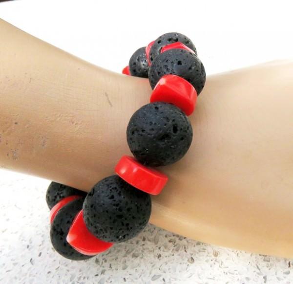 Korallen Lava Armband Unikat 3777