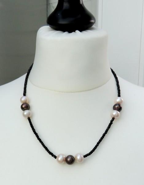 Süßwasserperlen Spinell Kette, Edelstein Kette Perlen Perlen Unikat Kette 4357