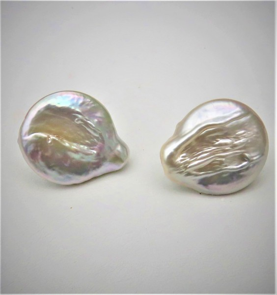 Perlen Ohrringe Coin Perlen Ohrringe Süßwasser Perlen Unikat Ohrstecker 4810