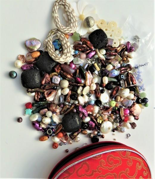 Süßwasser Perlen Edelsteine Perlmutt Leder Elemente Karabiner Schmuck selbst gestalten