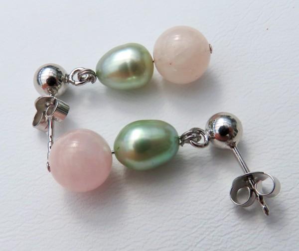 Perlen Edelstein Ohrringe Aquamarin oder Morganit mit Perlen Ohrringe 4351