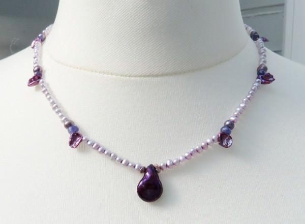 Süßwasserperlen Tansanit Kette Perlen Kette Edelstein Collier 4171