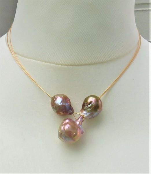 Ming Perlen Stahlseil Knopfloch Collier handgefertigt Unikat Perlen Collier 4815
