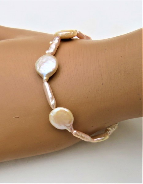 Biwa Perlen Coin Perlen Armband Süßwasserperlen Armband Perlen Unikat 4887