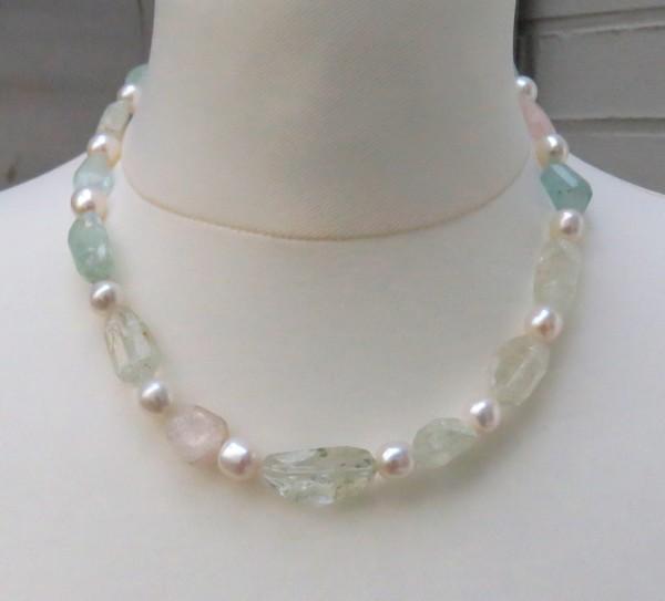 Beryll Süßwasserperlen Collier Edelstein Perlen Unikat Kette 183,25 Karat 4321