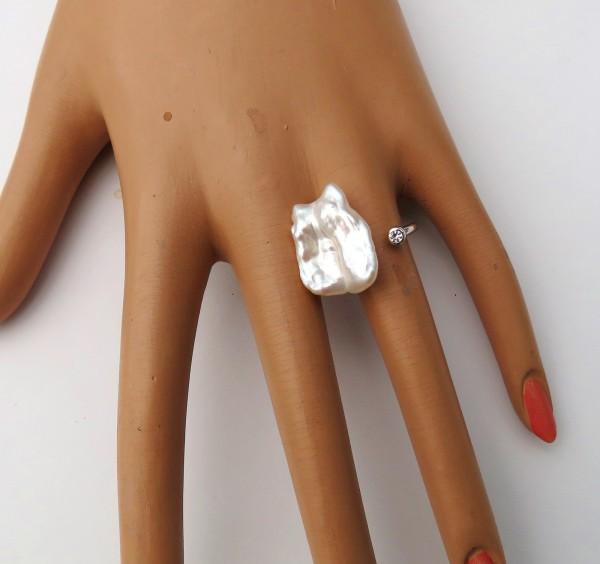 Perlen Ring Biwa Perlen Ring Unikat Silber Ring mit Perle 4340